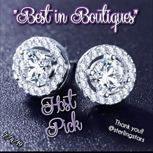 NEW Round CZ Pave Stud Earrings